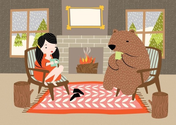 Discovered Hillary Bird today and love this print!  I would love to have tea-time with my bear!